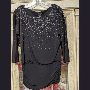 WHBM black silver bling studded Ruched Tunic top